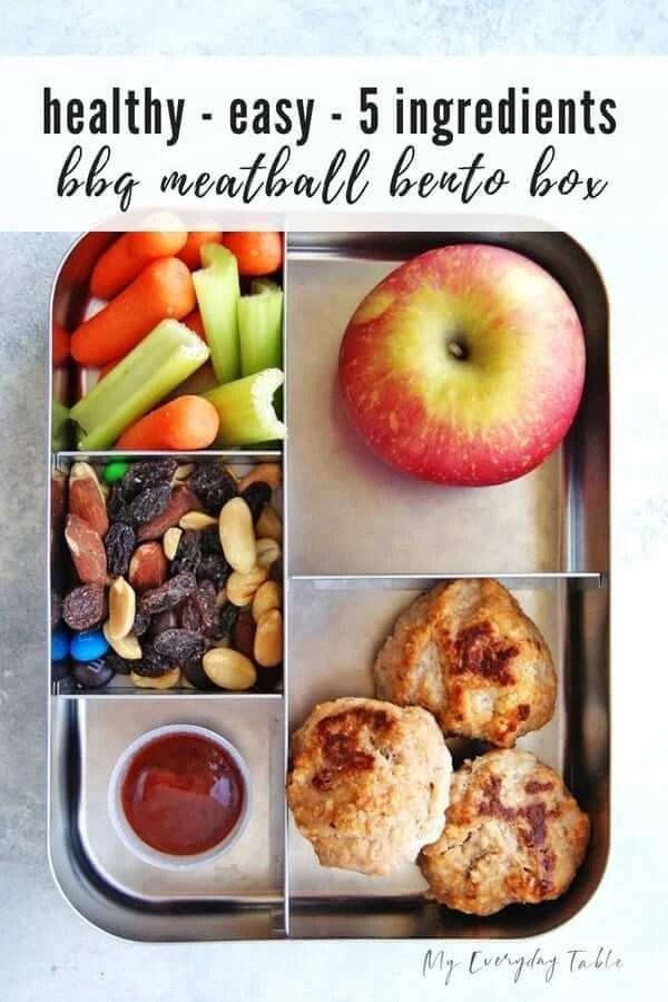 Easy BBQ Meatball Bento Box