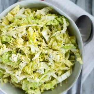 bowl of napa cabbage slaw recipe