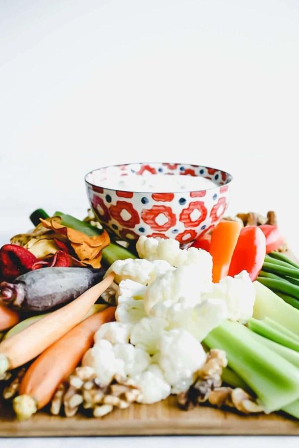 platter of vegetables with greek yogurt veggie dip