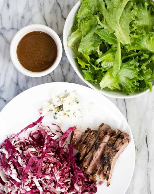 ingredients for grilled steak salad