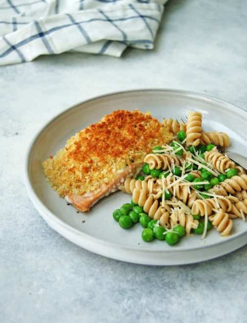 baked panko salmon on a plate