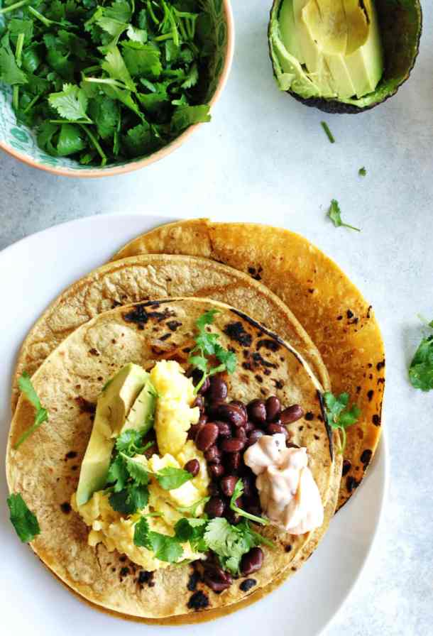 breakfast tacos recipe overhead shot