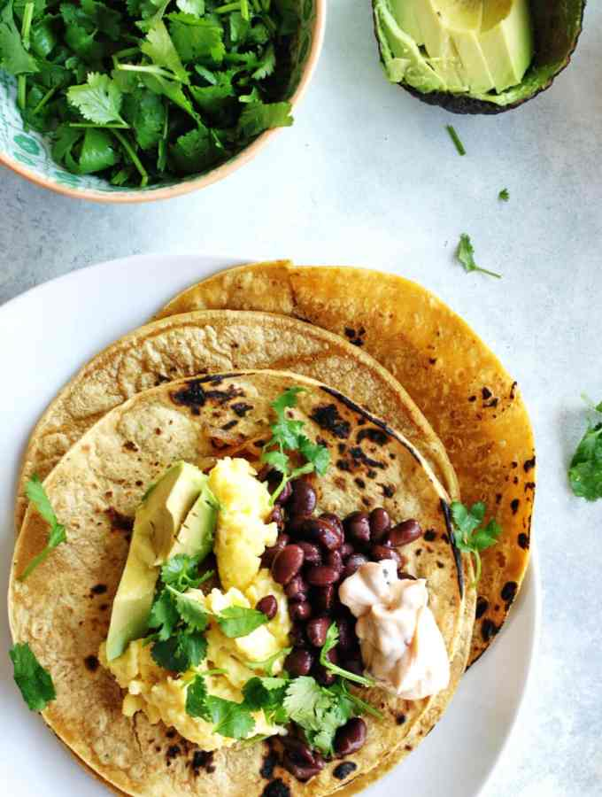 breakfast tacos recipe overhead shot
