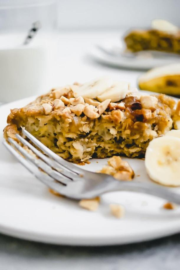 healthy baked oatmeal with a bite out if it
