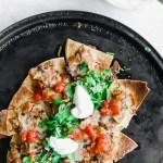 Slow Cooker Turkey Chili Nachos sheet pan