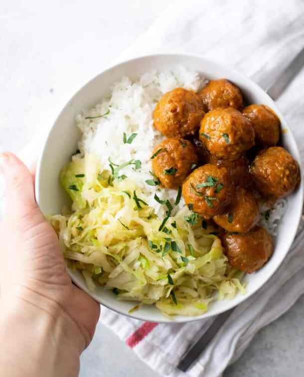easy trader joe's meatballs with currry