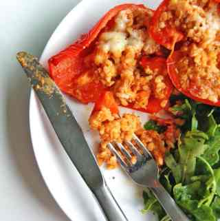 Turkey Stuffed Peppers: easy dinner made with Trader Joe's ingredients!