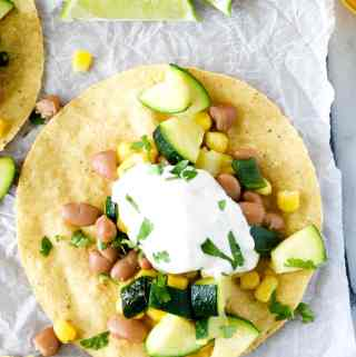 vegetarian tostada recipe overhead shot