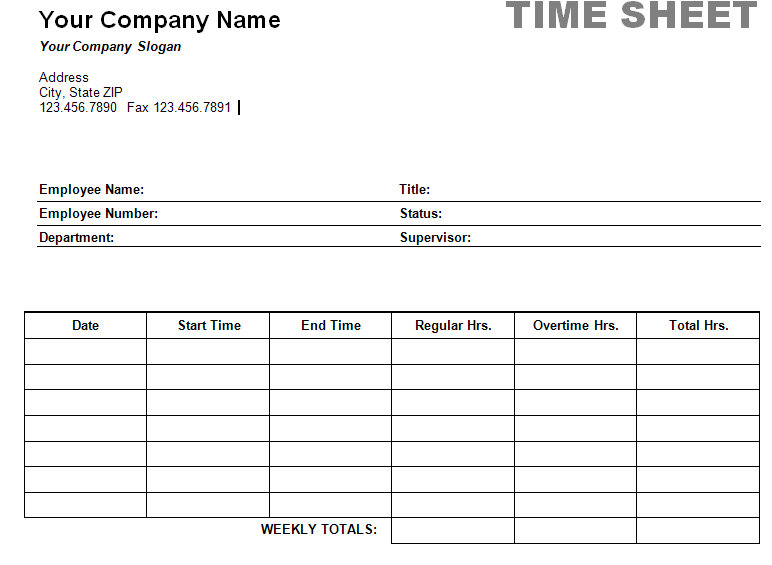 Employee Hours Template printable weekly time sheet timesheet – Time Sheet Format