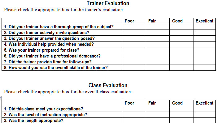 Template For Evaluation Form executive director evaluation survey – Sample Training Survey