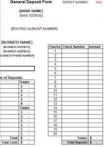 Deposit Form Template Deposit Form