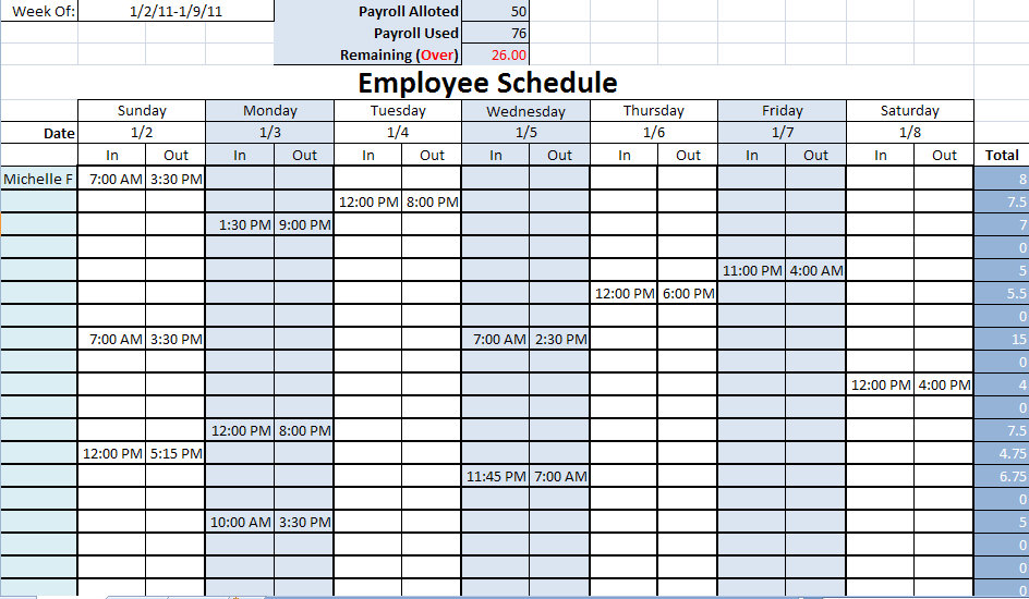 printable work schedule printable work schedules
