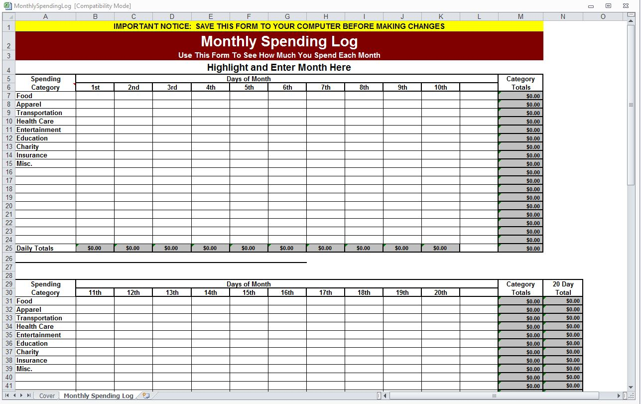Monthly Spending Log