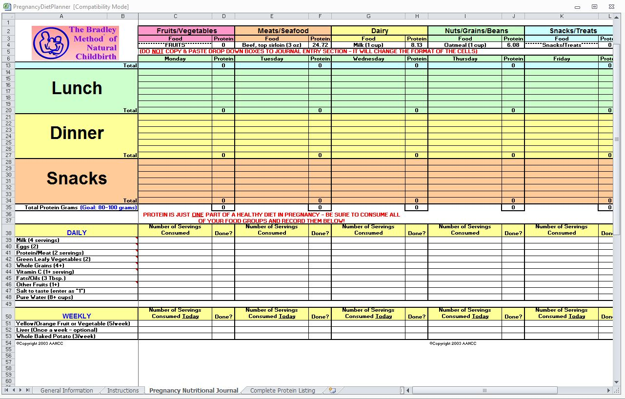 Pregnancyt Spreadsheet