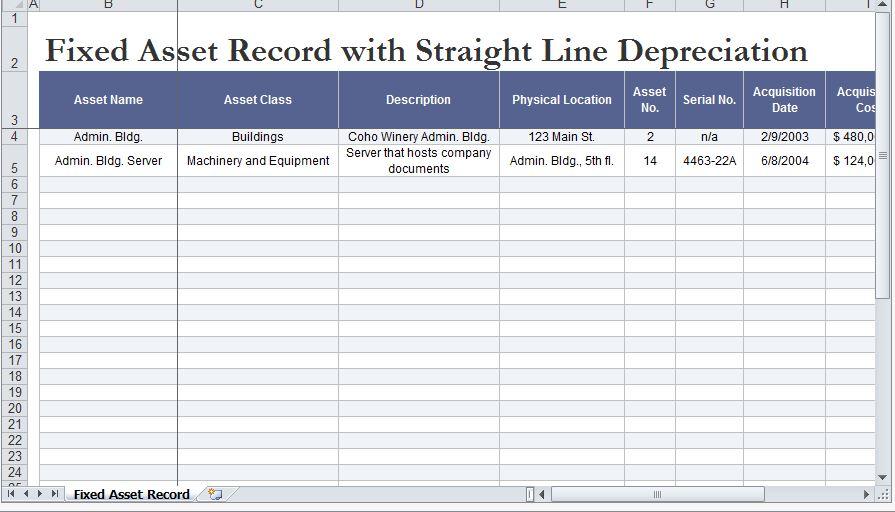 Depreciation Template Excel. depreciation schedule template ...