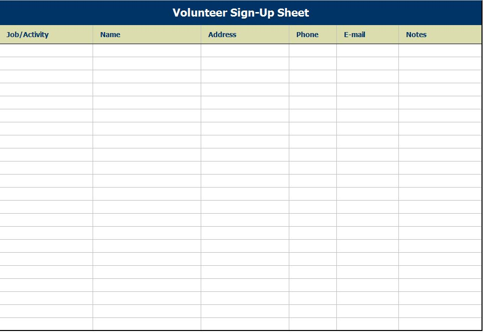 Sign In Template Excel up sheet new calendar site 5 free sign in – Simple Sign Up Sheet Template
