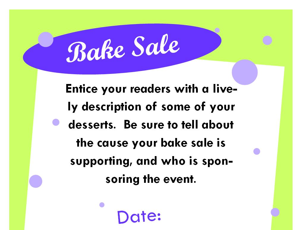 Bake Sale Poster Bake Sale Poster Template