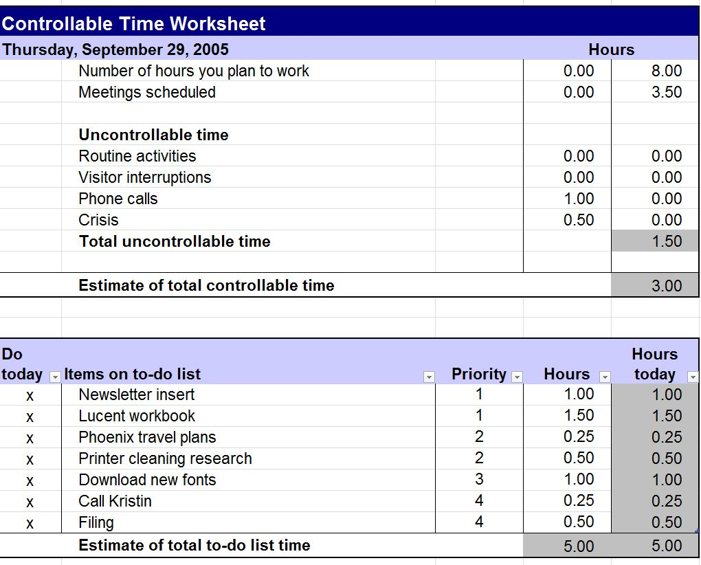 Controllable Time Worksheet Controllable Time Template