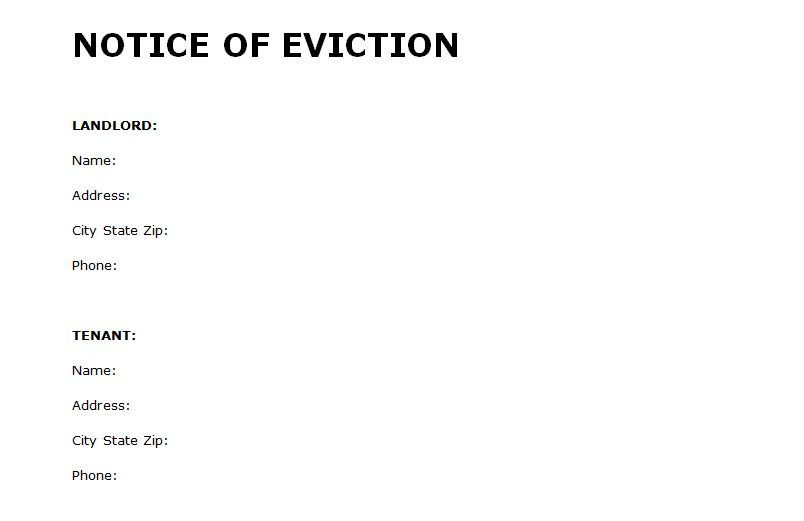 Free Eviction Template eviction notice create a free eviction – Eviction Letter to Tenant
