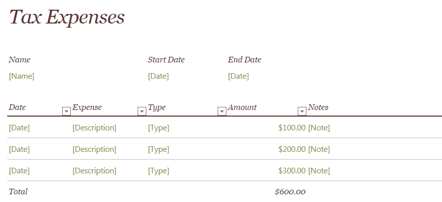 2015 Tax Expense Template