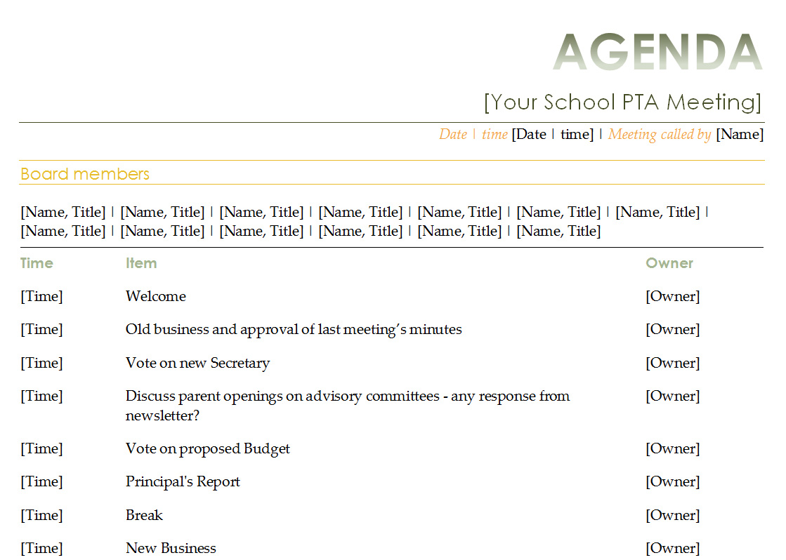 Agenda Calendar Template. 2013 templates monthly and yearly. academic ...