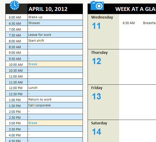 Personal Daily Schedule My Excel Templates