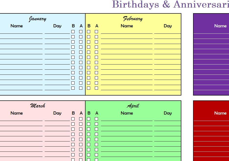Birthdays Amp Anniversaries Chart My Excel Templates