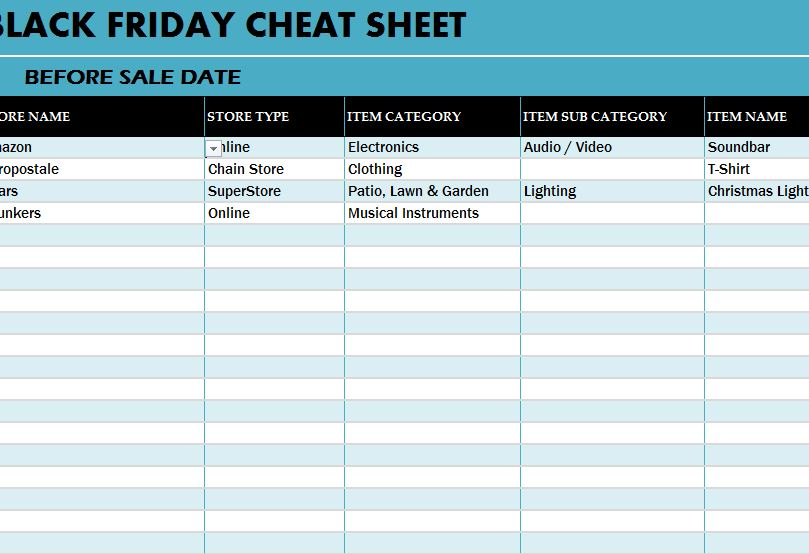 Black Friday Deals Cheat Sheet My Excel Templates