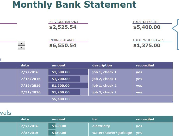 Monthly Bank Statement My Excel Templates