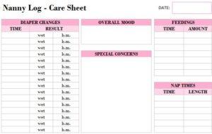Printable Nanny Log Template My Excel Templates