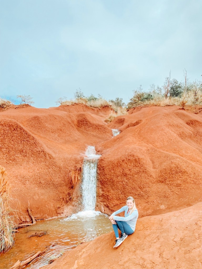 Looking for unique waterfalls. Che out Red Dirt Falls in Waimea Canyon