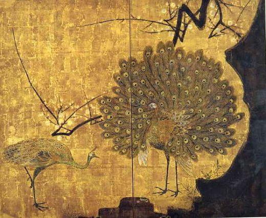 Ogata Körin, paravent Paon et roses trémières