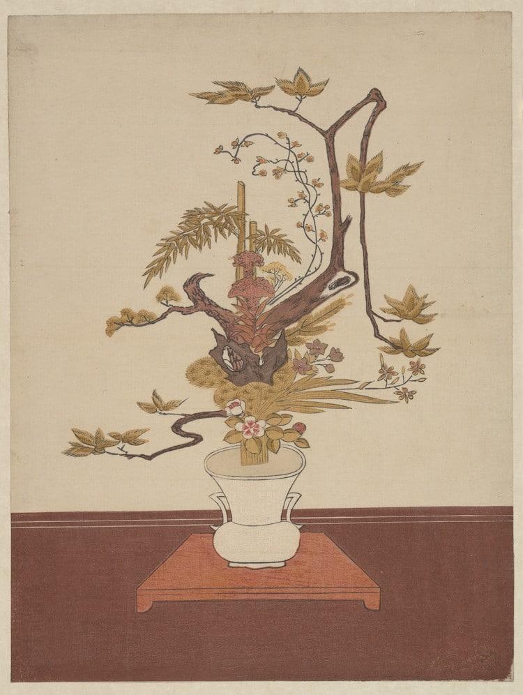 "Ike Bana (Flower Arrangement) in the Ike-no-bo Style"" by Suzuki Harunobu, ca. 1765"