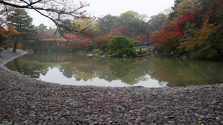 Jardin du Sentô Gosho , Kyotô, rivage de pierre