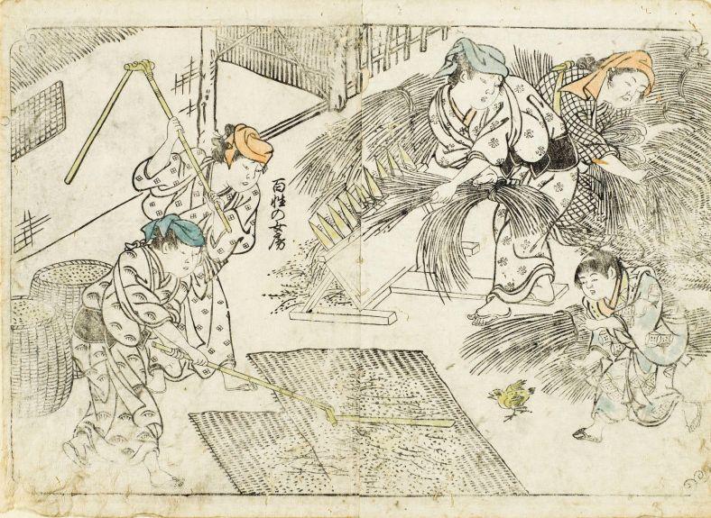 Sukenobu,le battage du riz, 1723