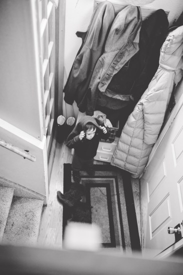 Son Dressing to go Outside Photoshoot Missoula Photographer
