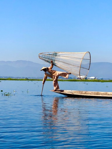 traditional fisherman Inle Lake Myanmar