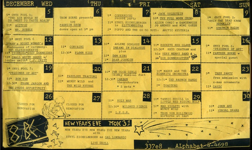 Schedule from the 1980s East Village nightclub 8BC