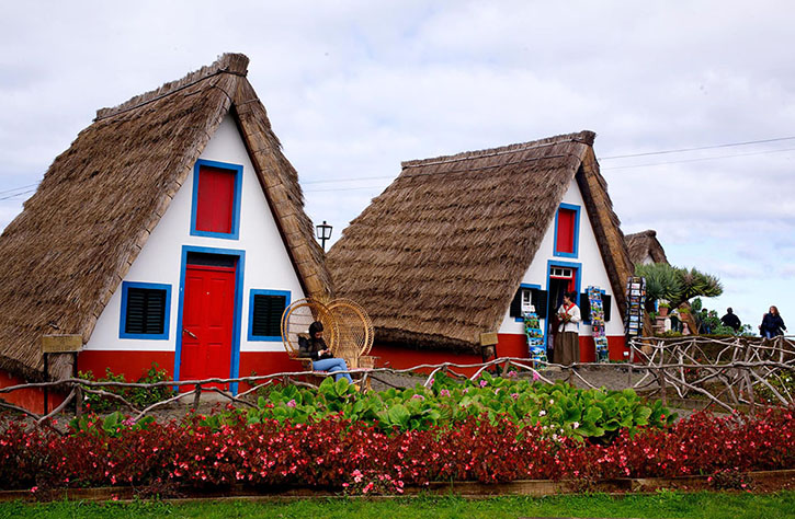 Historic A-frame houses in Santana, formerly homes of farmers in the past