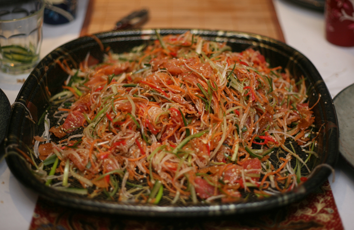 Yee Sang (Chinese New Year Prosperity Toss) after the tossing
