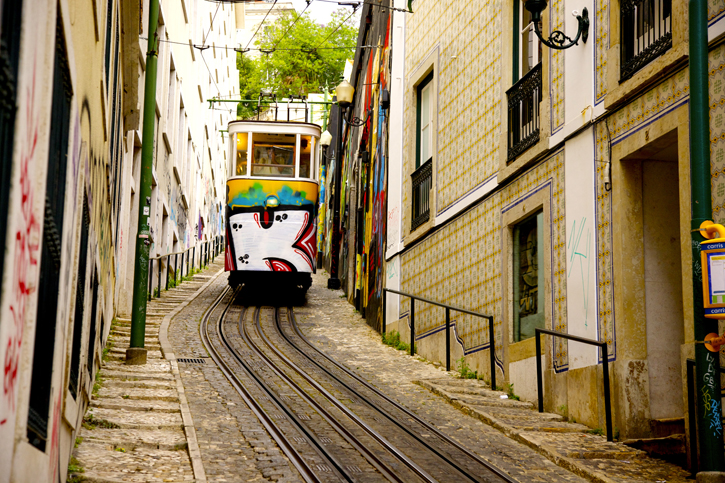 Lisbon's funicular railways are an essential part of public transport as this city is surrounded by 7 hills.