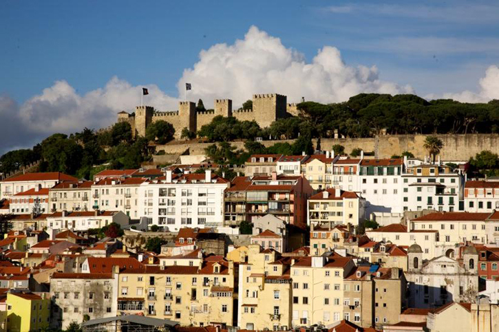 A view of the imposing Castle of St George on one of the seven hills of Lisbon.