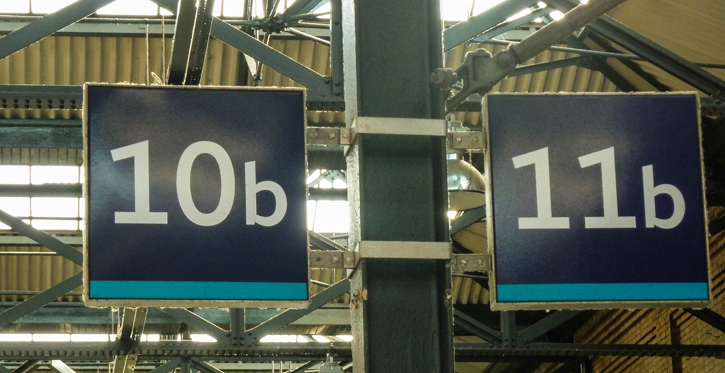Platform 10b and 11b in Kings Cross Station