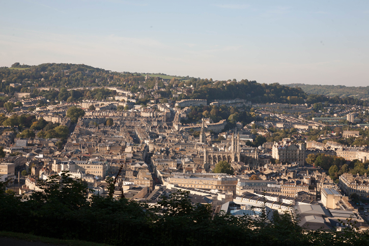 A view of the City of Bath taken from Alexandra Park. It shows the City in the fore ground and high land in the background.