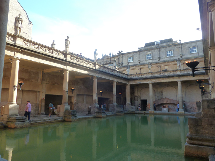 The original pool (used between 60 to 400AD) in the Roman Baths