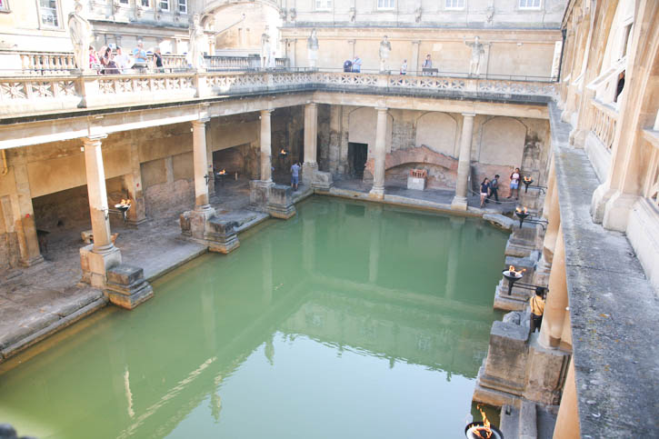 """Roman Baths: A view of the """"original"""" pool but the surrounding buildings are 18th Century."""