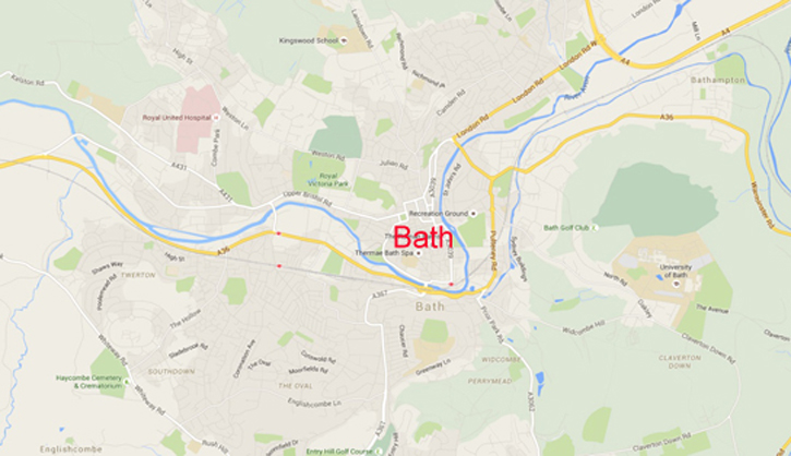 Google Map of the City of Bath. River is in Blue – The river flows from the top right (North East) to the left (West). The river flows in valleys. It is in the valleys that channel the flow of energy from the North East and from the West.