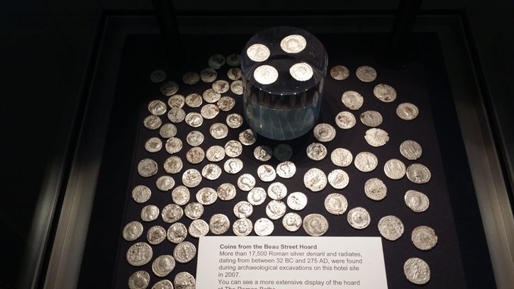 A sample the silver coins from the Beau Street Hoard displayed in the Entrance Hall of The Gainsborough Bath Spa.