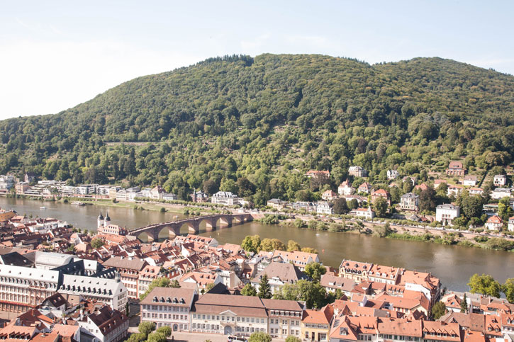 The setting of the Heidelberg Bridge on the River Neckar. The hill on the north bank has the Philosopher's Walk where you can get a panoramic view of the City.
