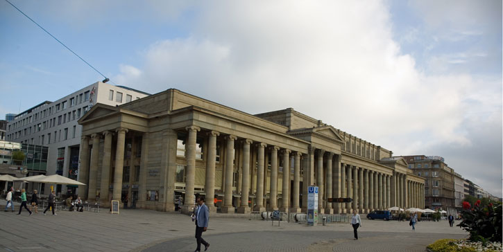 The Konigsbau, home of the local stock market from 1991 to 2002. It is located on one side of the Schlossplatz and opposite to the Neues Schloss Palace